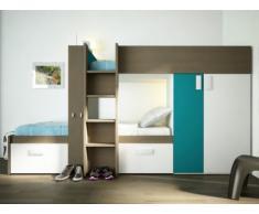 Kinderbett Hochbett Etagenbett Julien - 2x90x190cm - Taupe & Blau