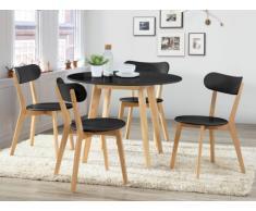 Sparset Essgruppe COLETTE : Tisch rund + 4 Stühle - Schwarz