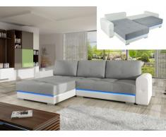 Ecksofa Schlafsofa Stoff LED-Leiste Keren - Ecke Links