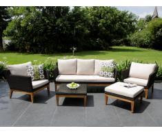 Garten Sitzgruppe Holz & Polyrattan NASHIK: 3-Sitzer-Sofa, 2 Sessel, Sitzhocker & Couchtisch