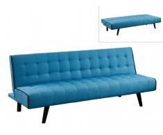Klappsofa 3-Sitzer Stoff BAYOU - Blau mit schwarzer Ziernaht
