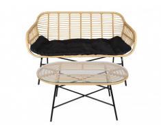 Garten 2-Sitzer-Sofa + Tisch Polyrattan NOSARA