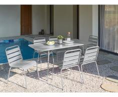 Garten Essgruppe Metall MIRMANDE - Tisch L. 160 cm & 6 Stühle - Grau