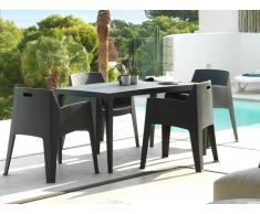 Essgruppe Polypropylen SOROCA: Esstisch + 4 Stühle