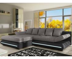 XXL-Ecksofa Big Sofa Schlafsofa Stoff mit LED-Leiste Mattias - Schwarz/Grau - Ecke Links