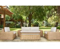Garten-Sitzgruppe OBIDOS - Polyrattan: 3-Sitzer-Sofa, 2 Sessel & Beistelltisch