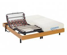 Matratzen elektrischer Lattenrost 2er-Set mit Viscoschaum und Okin-Motor DIONYSOS von DREAMEA - Kirschholzfarben - 2x90x200 cm
