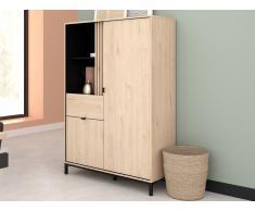 Vitrinenschrank RISLANE - 2 Türen, 1 Schublade & 2 Ablagen - Eiche & Schwarz