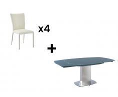 Essgruppe TALICIA: Esstisch & 4 Stühle - Grau