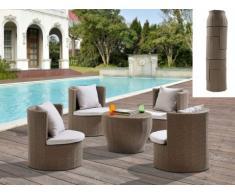 SALE - Polyrattan Lounge Sitzgruppe Sao Paulo (5-tlg.) - Karamell & Creme