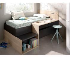 Bett mit Stauraum & Schreibtisch LISON - 90 x 190 cm - Anthrazit & Eichenholzfarben