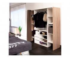 Sparset: Kleiderschranksystem mit Kommode EMERIC - Eichefarben-Weiß & Taupe