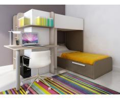 Kinderbett Hochbett Samuel inkl.Schreibtisch - 2x 90x190cm - Braun