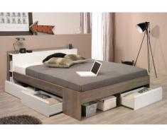 PARISOT Bett mit Stauraum Most - Verstellbar 140x190cm bis 140x200cm - Taupe