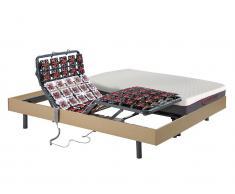 Matratzen elektrischer Lattenrost 2er-Set Memory Schaum ATRIDE - OKIN-Motoren - Eiche - 2 x 90 x 200 cm