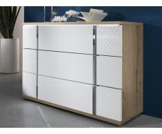 Kommode mit LED-Beleuchtung CONSCIENCE - 3 Schubladen - Weiß/Eichenholzfarben