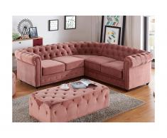 Chesterfield Ecksofa Samt Anton - Limited Edition - Rosa
