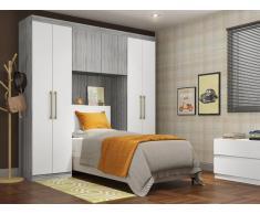 Bettbrücke mit Kleiderschrank und Stauraum ANTERO - 6 Türen - Grau & Weiß