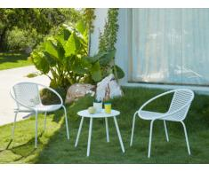 Garten Sitzgruppe Metall NAJAC - 2 Sessel & 1 Beistelltisch - Weiß