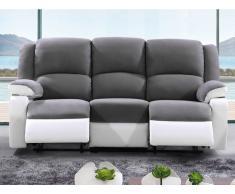 Relaxsofa Microfaser 3-Sitzer BILSTON - Grau/Weiß
