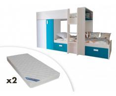 Set Etagenbett mit Kleiderschrank JULIEN + 2 Matratzen - 2x90x190cm - Eichenholzfarben/Blau