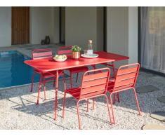 Garten Essgruppe Metall MIRMANDE - Tisch L. 160 cm & 4 Stühle - Rot