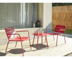 Garten Sitzgruppe Metall MIRMANDE - 2 Sessel & Beistelltisch - Rot