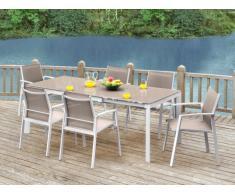 Gartenmöbel Essgruppe Aluminium PALAOS (7-tlg.) - Taupe: Ausziehbarer Esstisch + 6 Sessel