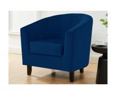 Lounge-Sessel CRISTOBAL - Samt - Dunkelblau