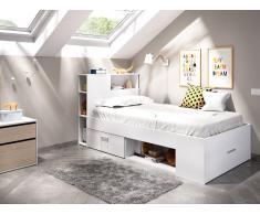 Bett mit Stauraum & Schublade LEANDRE - 90x190 cm - Weiß