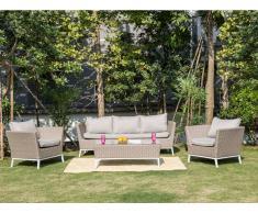 Garten Sitzgruppe MOMBASA - Polyrattan & Glas - Beige: 3-Sitzer-Sofa, 2 Sessel & Beistelltisch