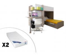 Sparset Samuel: Kinderbett in 2x 90x190 inkl.Schreibtisch & 2 Matratzen Zeus - Braun (3-tlg.)