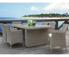 Polyrattan Essgruppe KOPERNIKUS: Tisch + 6 Sessel - Beige