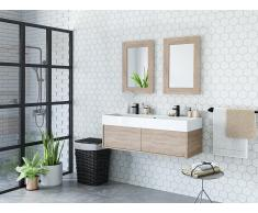 Komplettbad mit Doppelwaschbecken & 2 Spiegeln VALENTINA - Eichefarben