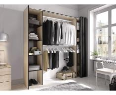 Kleiderschrank Kleiderschranksystem DORIAN - B. 110/180 cm - Eiche & Anthrazit