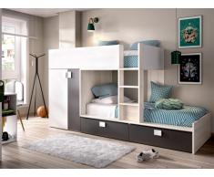 Etagenbett mit Kleiderschrank JUANITO - 2 x 90 x 190 cm - Weiß, Eiche & Anthrazit