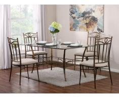 Essgruppe Metall PROVENCIA: Esstisch & 4 Stühle