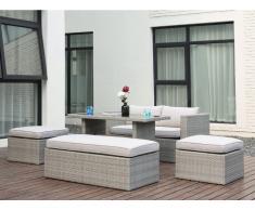 Garten Sitzgruppe SELAYAR: Sofa, Bank, 2 Hocker & Esstisch