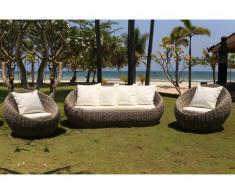 Garten-Sitzgruppe PESMES - Rattan - Sofa 3-Sitzer & 2 Sessel