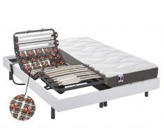 Matratzen-Elektrischer Lattenrost-Set Federleisten & Modulteller 100% Latex 5 Zonen MENELAS - Weiß - 2x90x200 cm