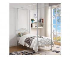 Metallbett Himmelbett LEYNA - 90x190cm - Weiß