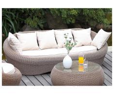 Gartensofa Polyrattan 3-Sitzer WHITEHEAVEN - Karamell