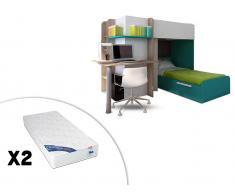 Sparset Samuel: Kinderbett in 2x 90x190 inkl.Schreibtisch & 2 Matratzen Zeus - Türkisblau (3-tlg.)