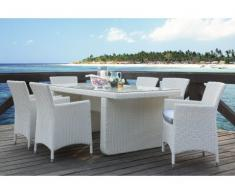 Polyrattan Essgruppe KOPERNIKUS: Tisch + 6 Sessel - Weiß