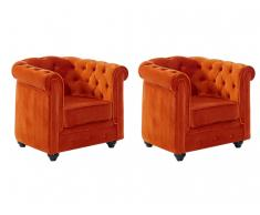 Sessel Samt 2er-Set Chesterfield ANNA - Terrakotta