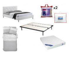 Sparset Schlafzimmer Gabin - Bett 140x190cm (8 tlg.) - Weiß