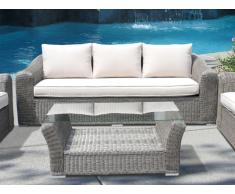 Polyrattan Gartensofa 3-Sitzer & Gartentisch Paraiba - Creme