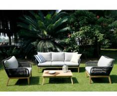 Garten Sitzgruppe Holz KOLOA: 3-Sitzer-Sofa, 2 Sessel + Couchtisch