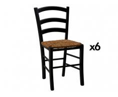 Stuhl 6er-Set Massivholz PAYSANNE - Schwarz