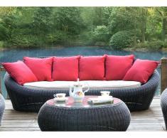 Gartensofa Polyrattan 3-Sitzer WHITEHEAVEN - Anthrazit